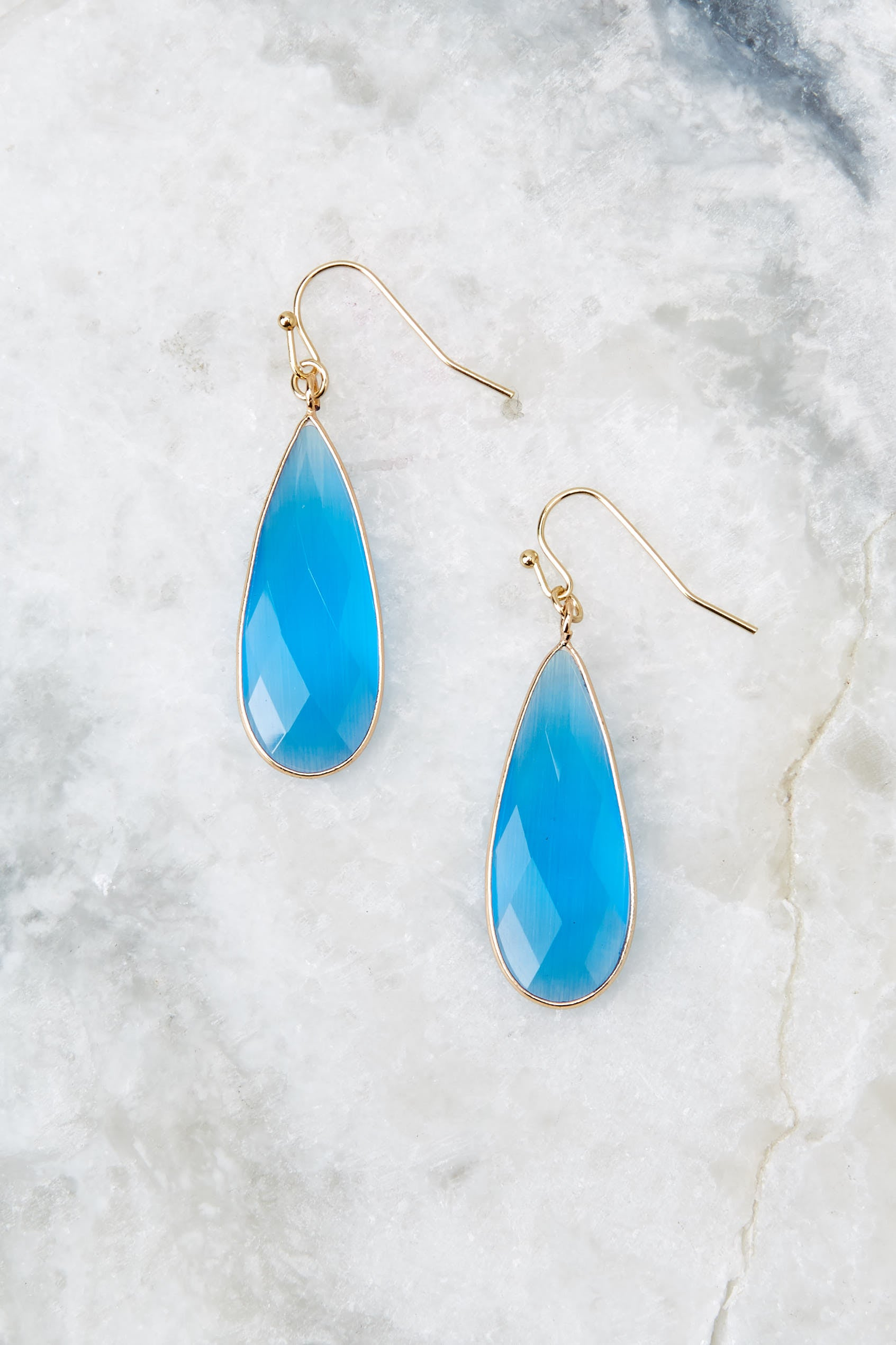 2 Without Warning Blue Earrings at reddressboutique.com