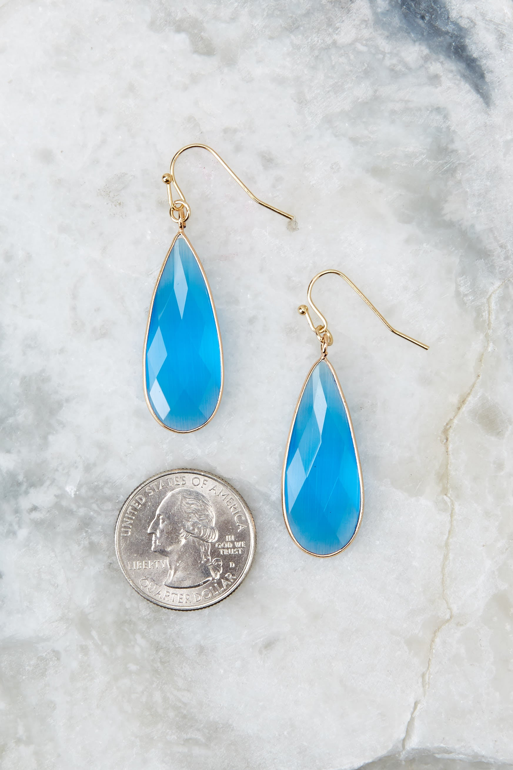 3 Without Warning Blue Earrings at reddressboutique.com