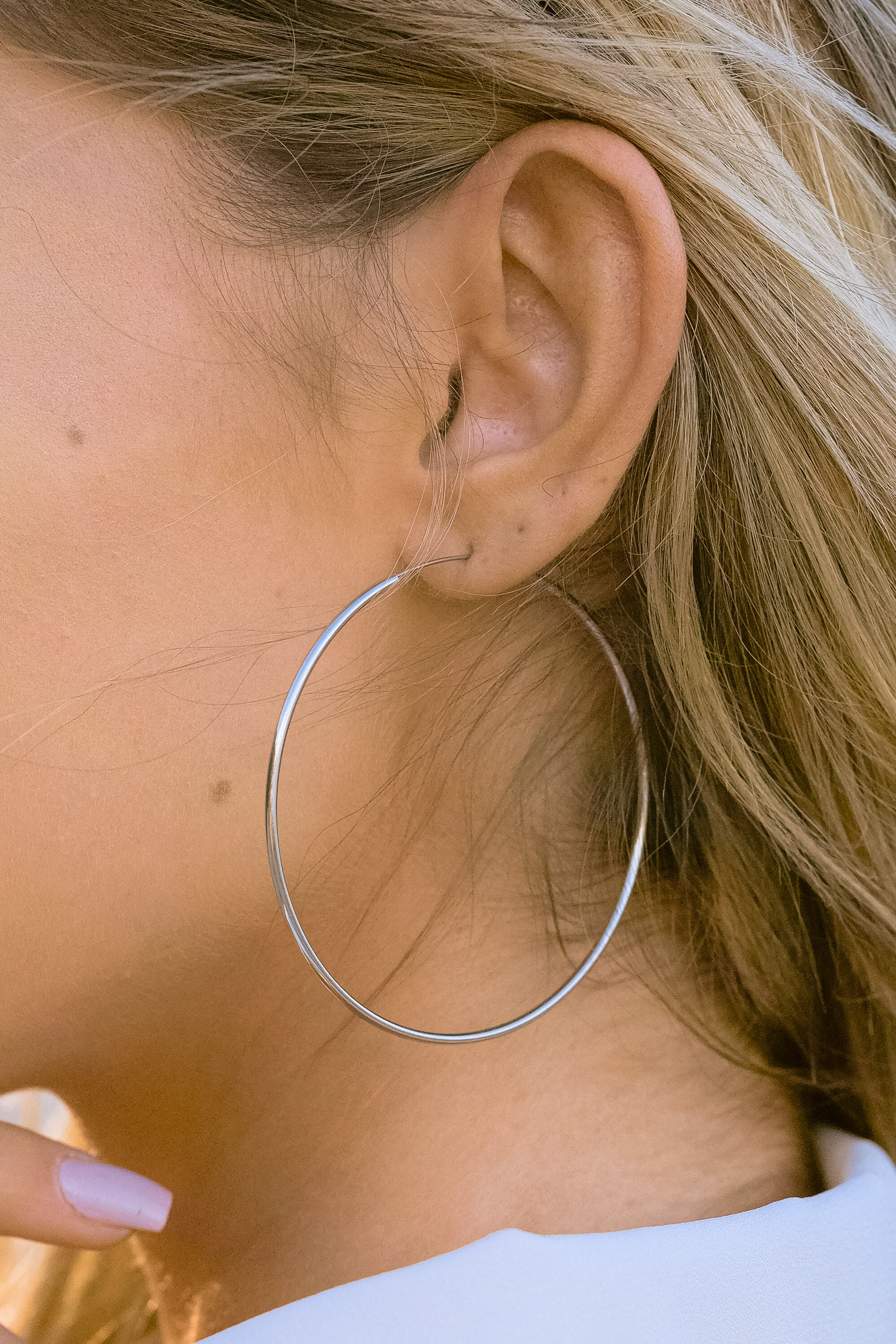 1 Beyond Reason Silver Hoop Earrings at reddressboutique.com