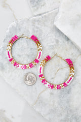 3 Intently Listening Pink Multi Beaded Earrings at reddressboutique.com