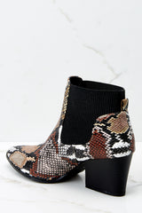 4 Hello It's Me Brown Multi Snake Print Ankle Boots at reddressboutique.com