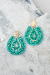 2 Whenever Wherever Turquoise Beaded Earrings at reddressboutique.com