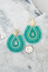 3 Whenever Wherever Turquoise Beaded Earrings at reddressboutique.com