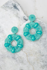 2 Search Is Over Turquoise Beaded Earrings at reddressboutique.com