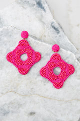 2 Having Fun Bright Pink Beaded Earrings at reddress.com