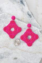 3 Having Fun Bright Pink Beaded Earrings at reddress.com