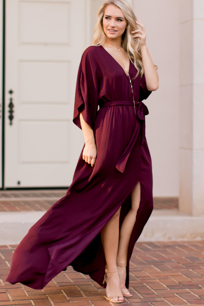 15 Can't Look Away Burgundy Maxi Dress at reddress.com