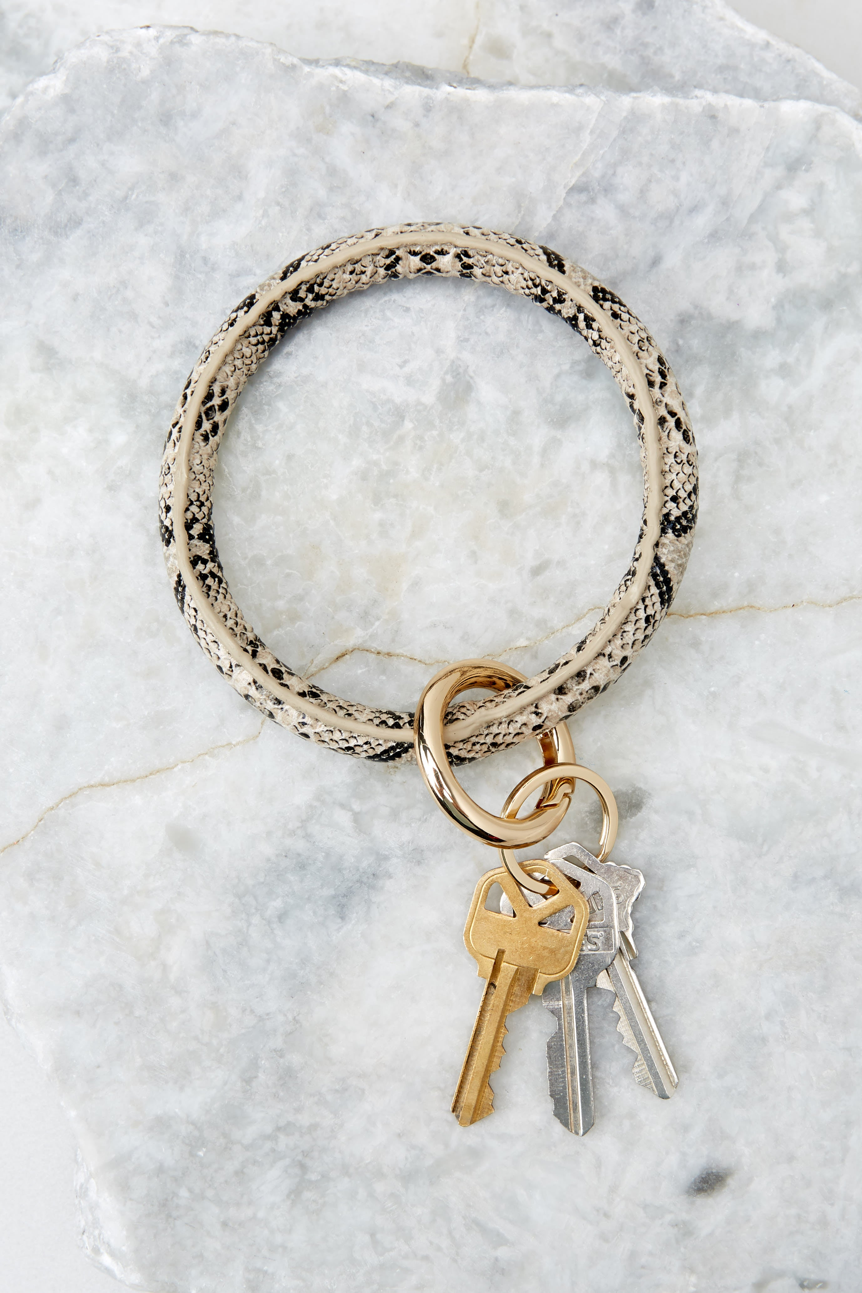 Going Going Gone Snake Print Round Key Chain