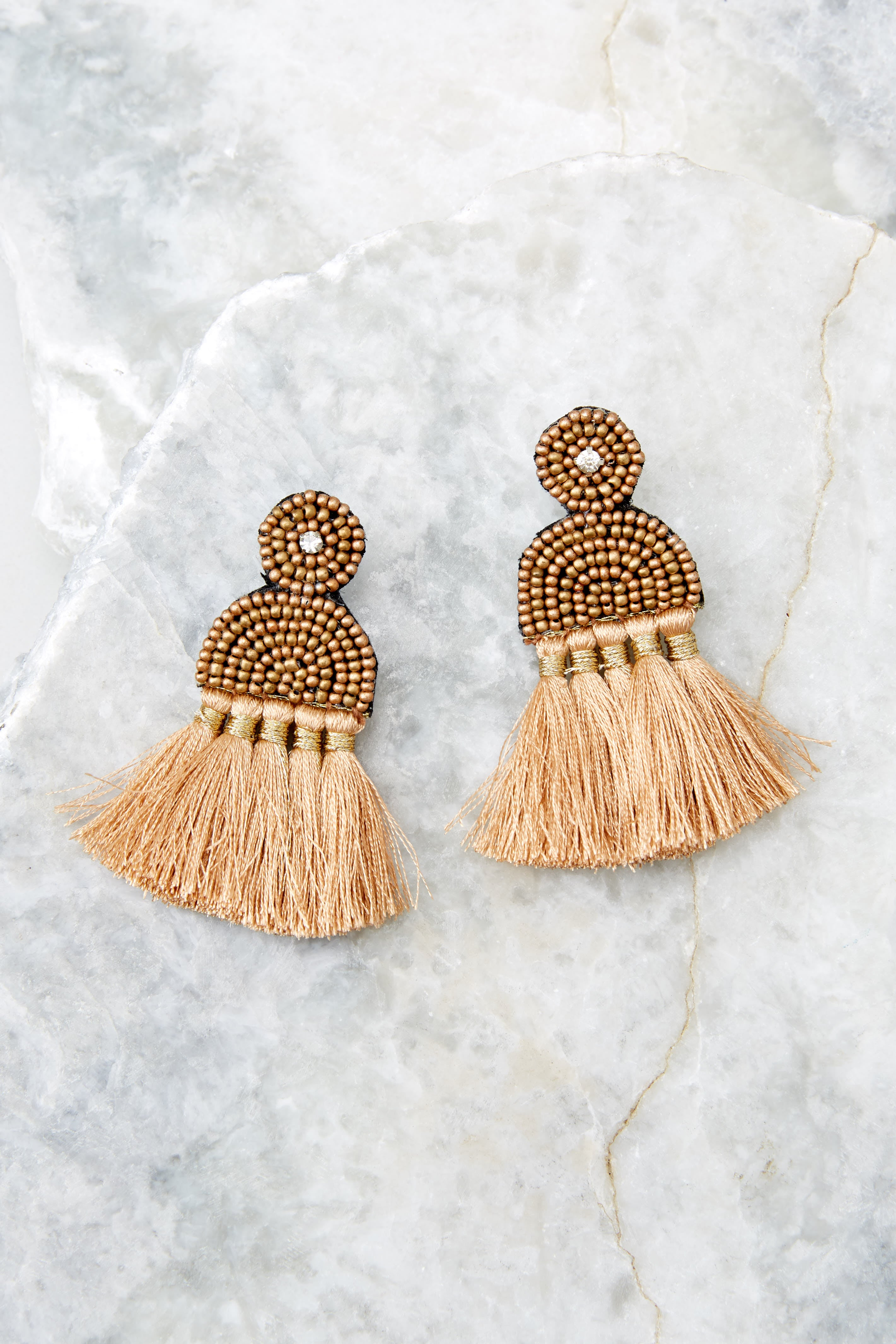 2 Call The Night Tan Earrings at reddressboutique.com