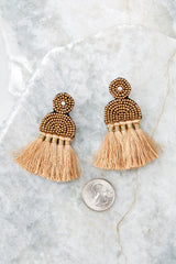 3 Call The Night Tan Earrings at reddressboutique.com