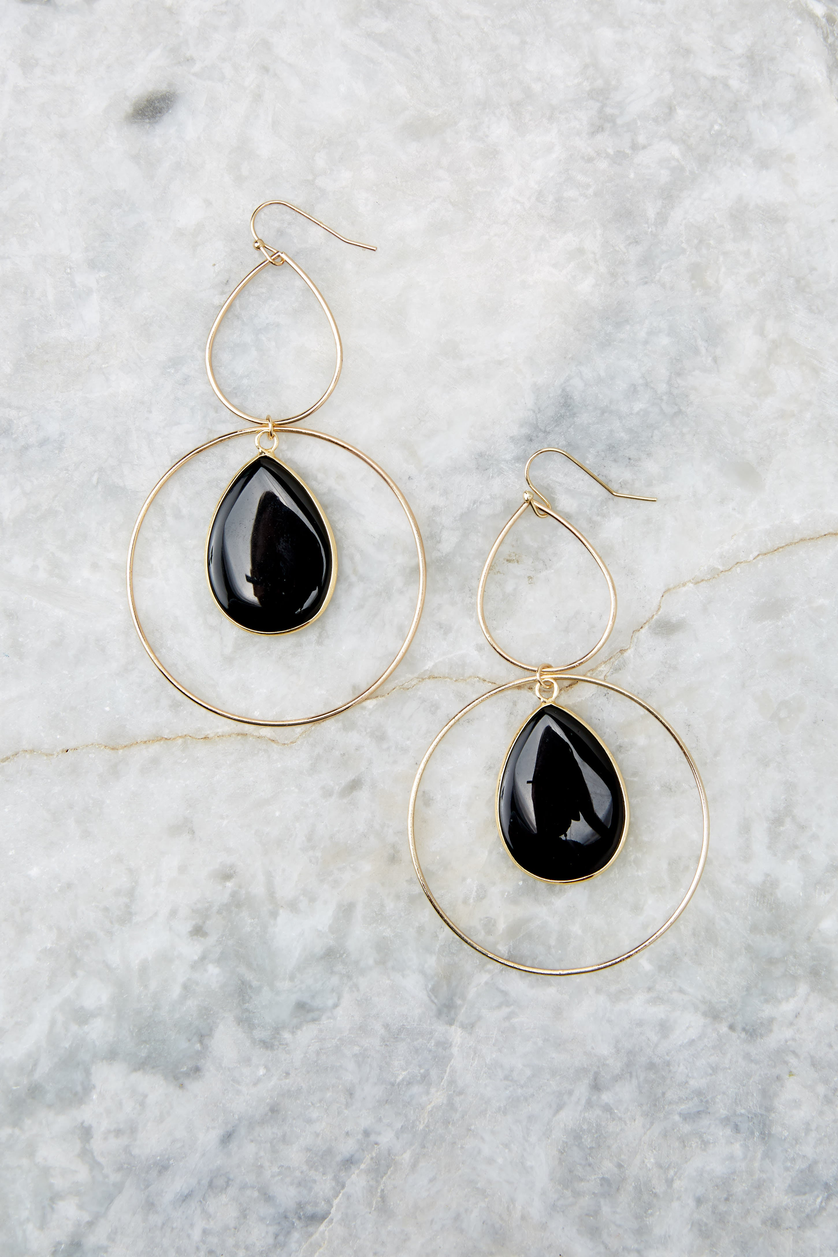 2 Trifecta Of Perfection Black Earrings at reddressboutique.com