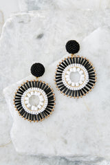 2 Like The Attention Black And White Earrings at reddressboutique.com