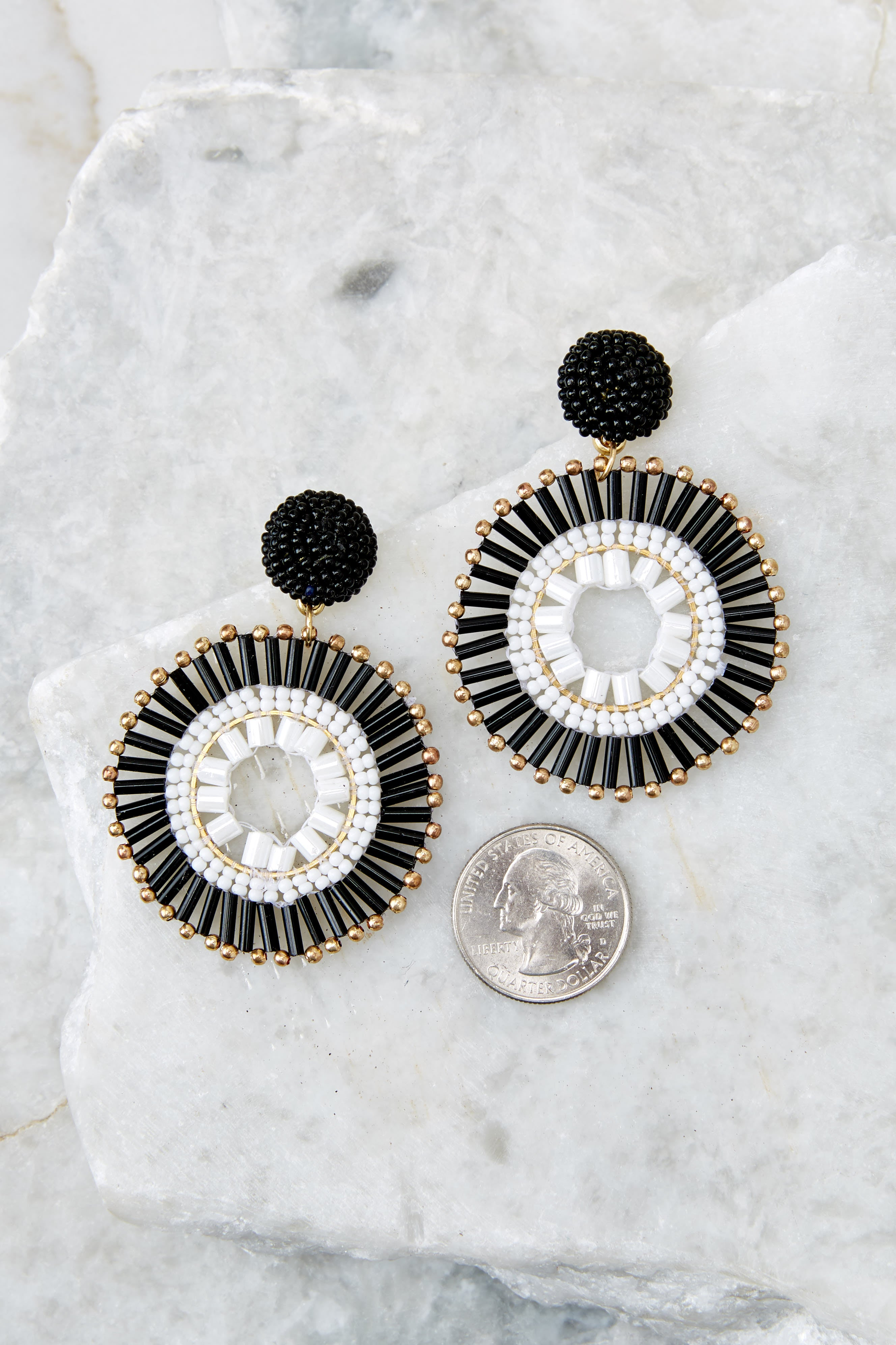 3 Like The Attention Black And White Earrings at reddressboutique.com