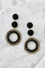 2 Anyway Anywhere Black Beaded Earrings at reddressboutique.com