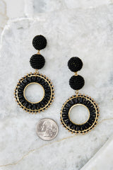 3 Anyway Anywhere Black Beaded Earrings at reddressboutique.com