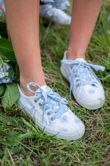 1 2750 White And Baby Blue Floral Print Sneakers at reddress.com