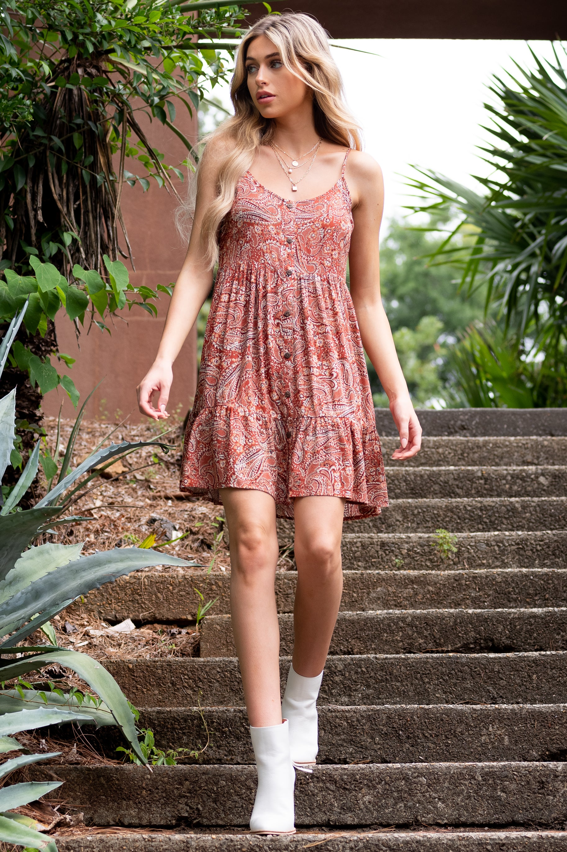 2 On Second Thought Rust Print Dress at reddress.com