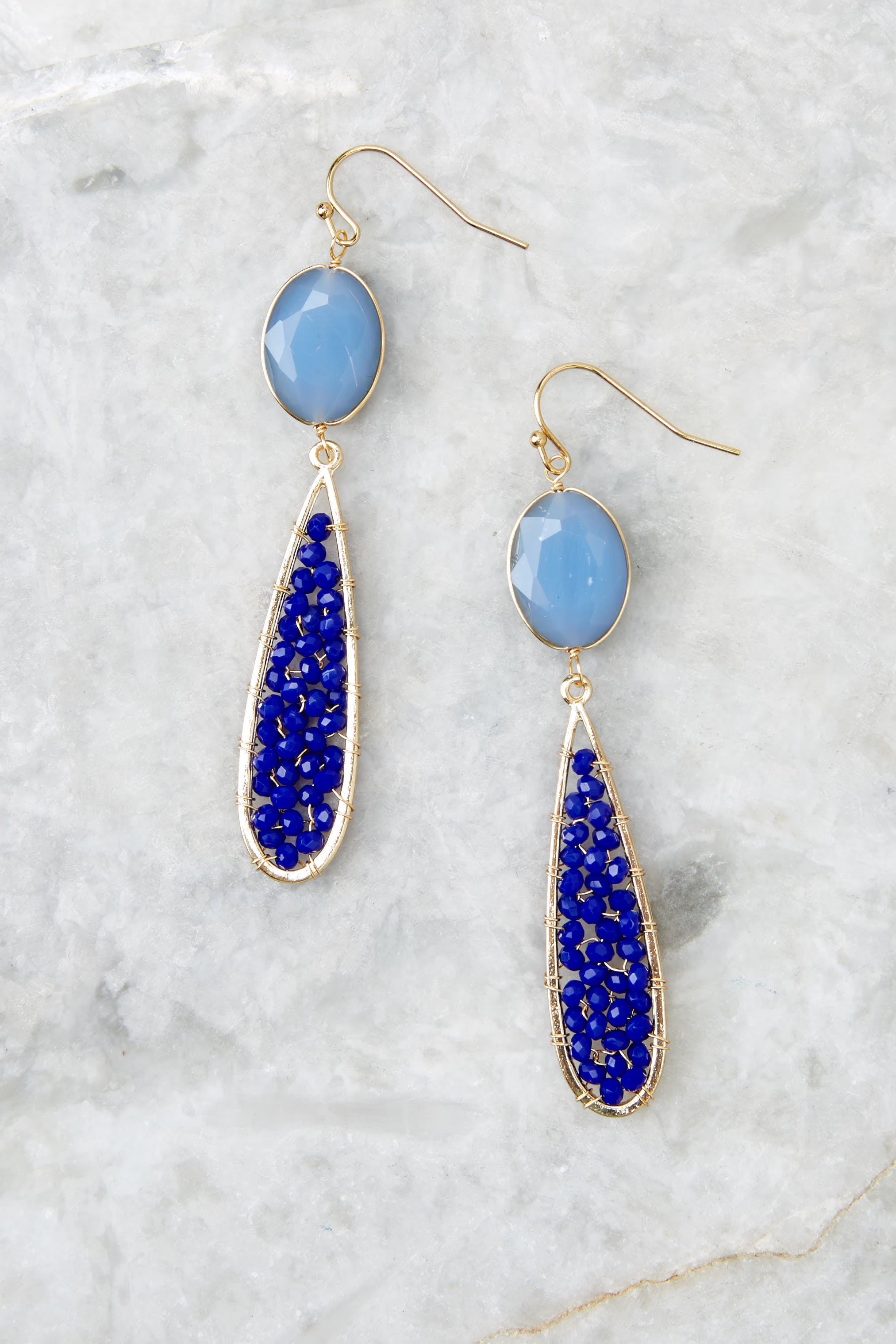 Across The Room Blue Beaded Earrings at Red Dress.com