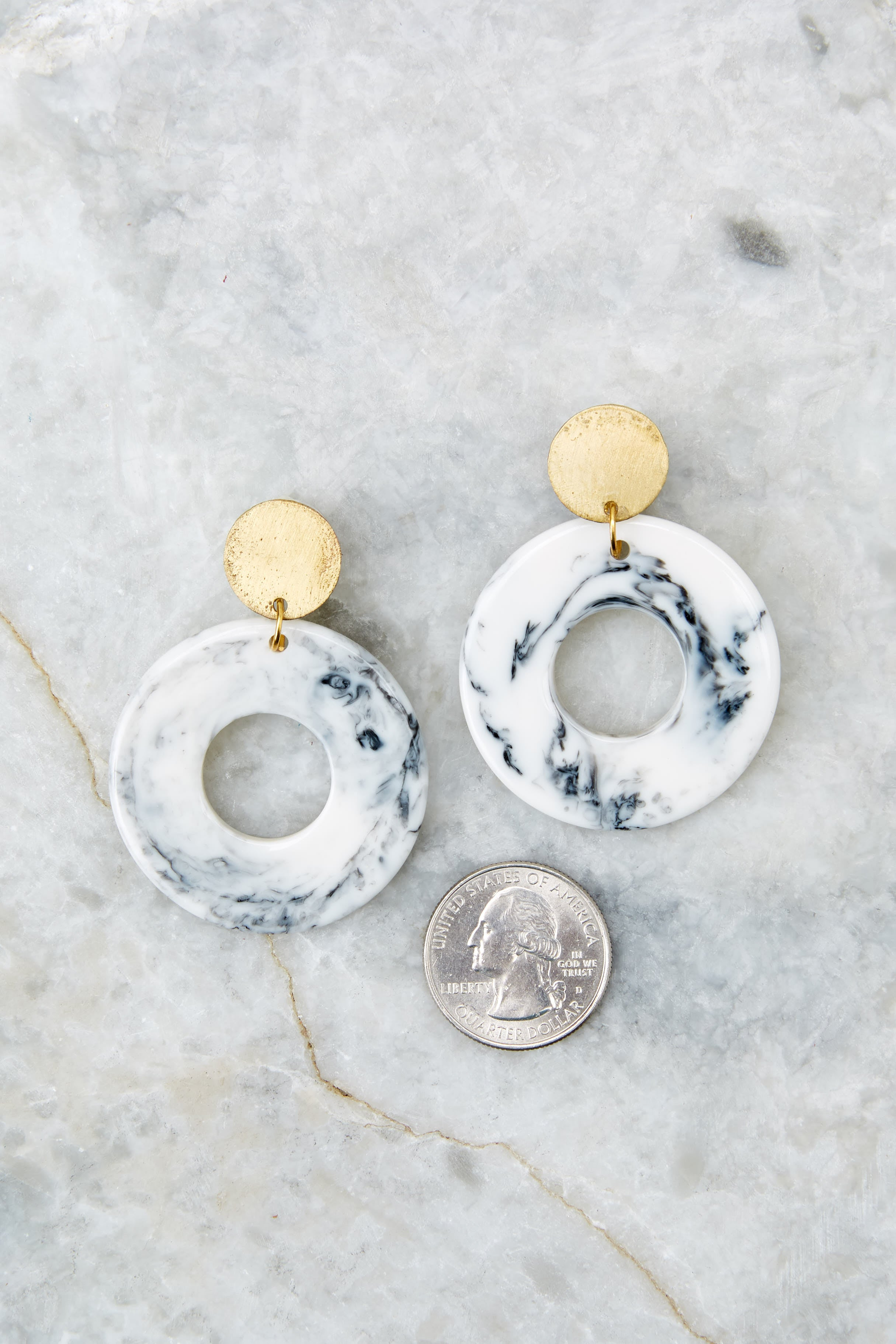 Why Not White Marble Earrings