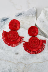 2 Doing It Well Red Statement Earrings at reddressboutique.com