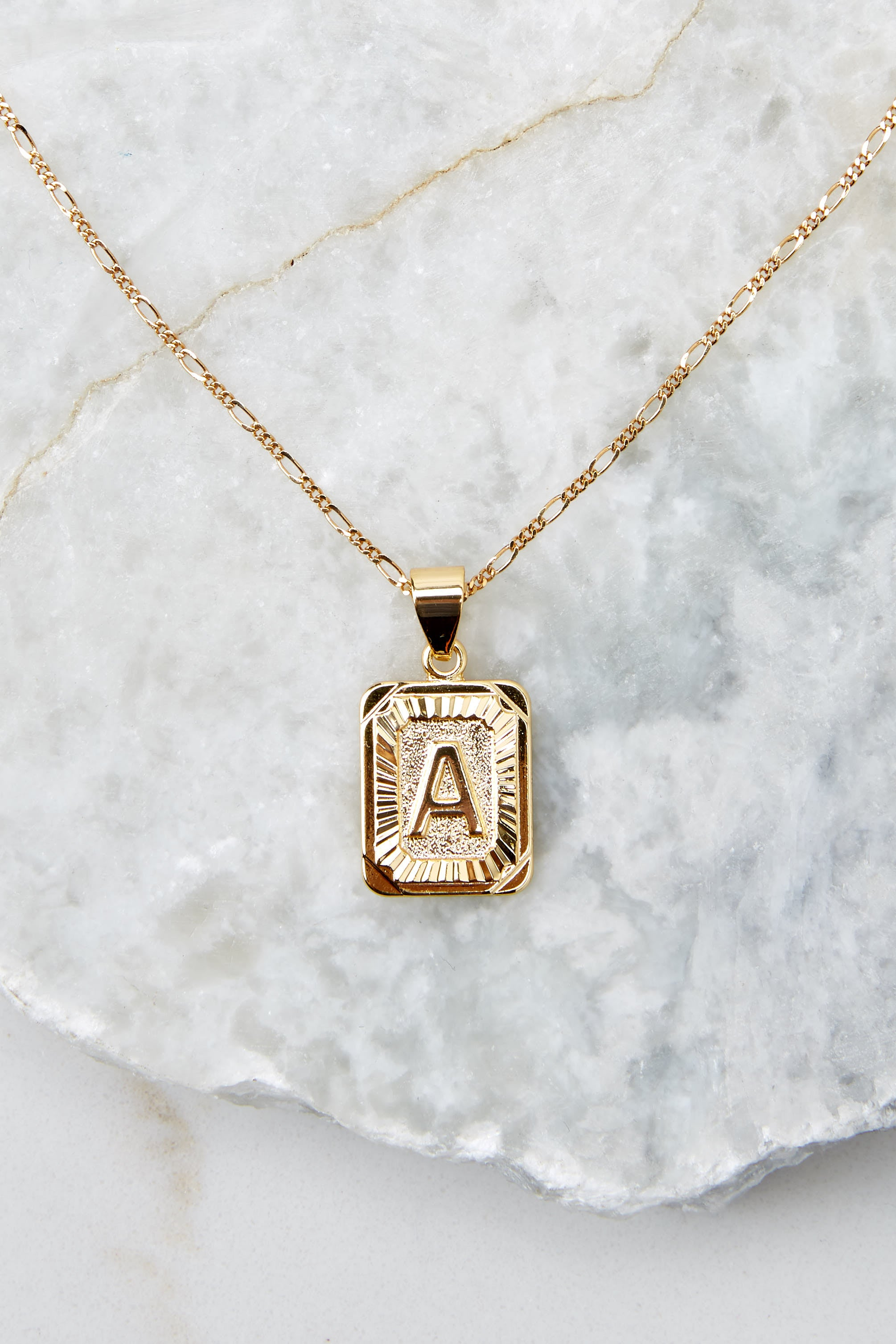 3 A Initial Card Gold Necklace at reddressboutique.com