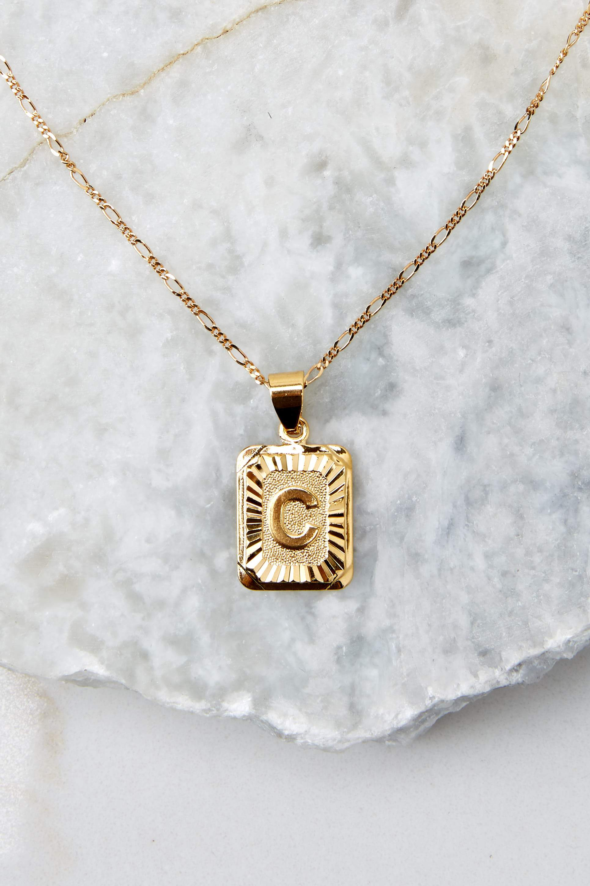 11 C Initial Card Gold Necklace at reddressboutique.com