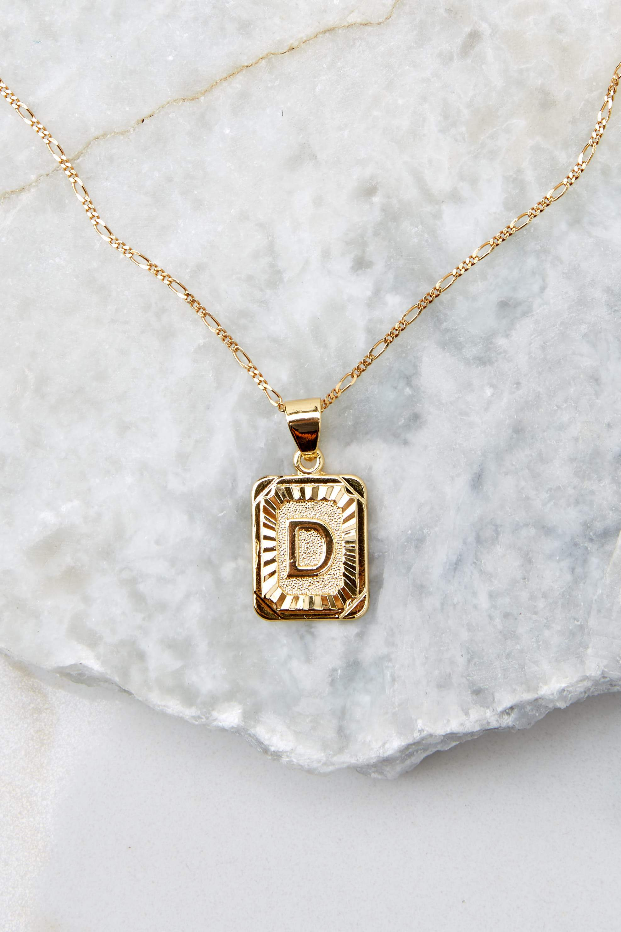 9 Initial Card Gold Necklace at reddressboutique.com