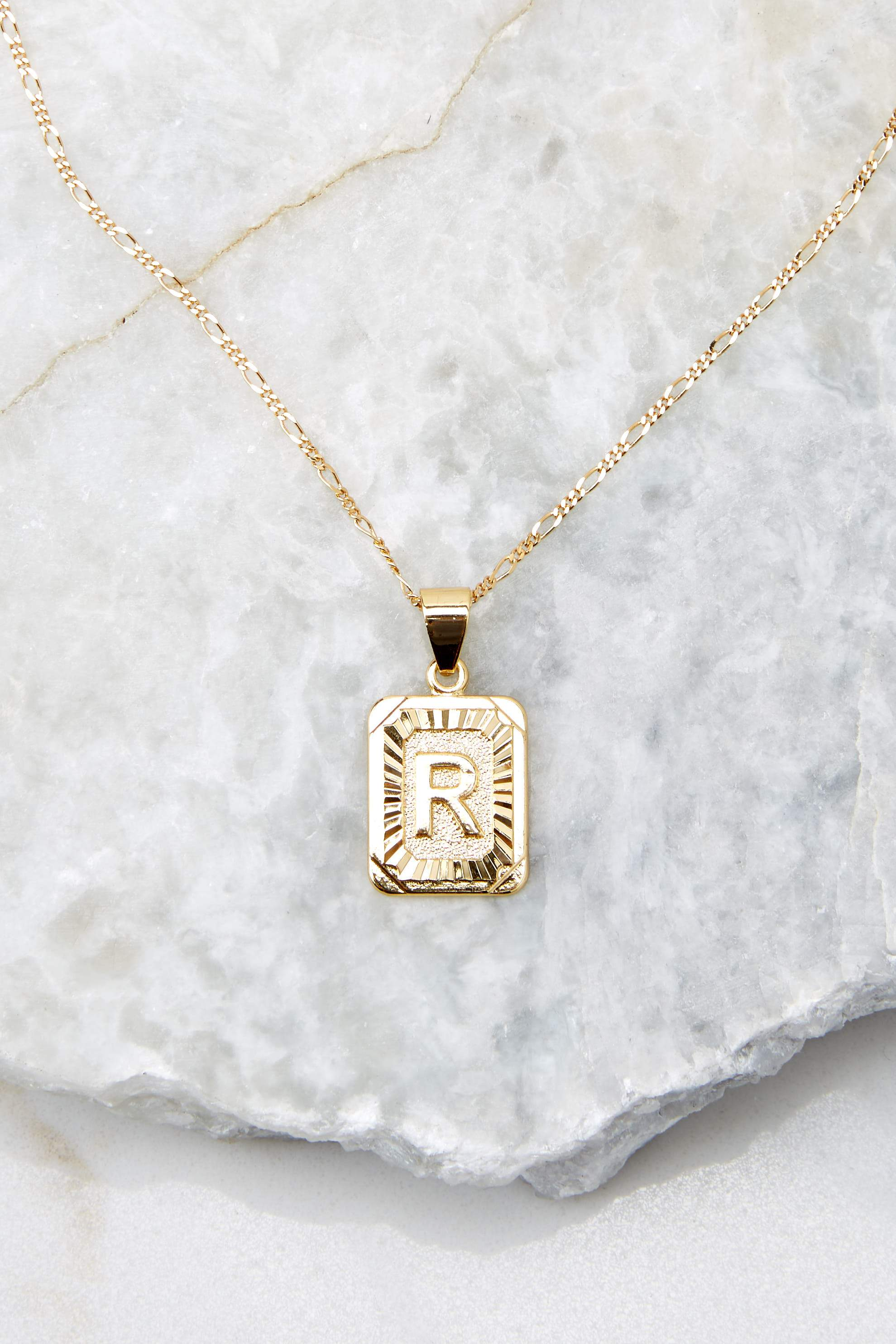 41 R Initial Card Gold Necklace at reddressboutique.com