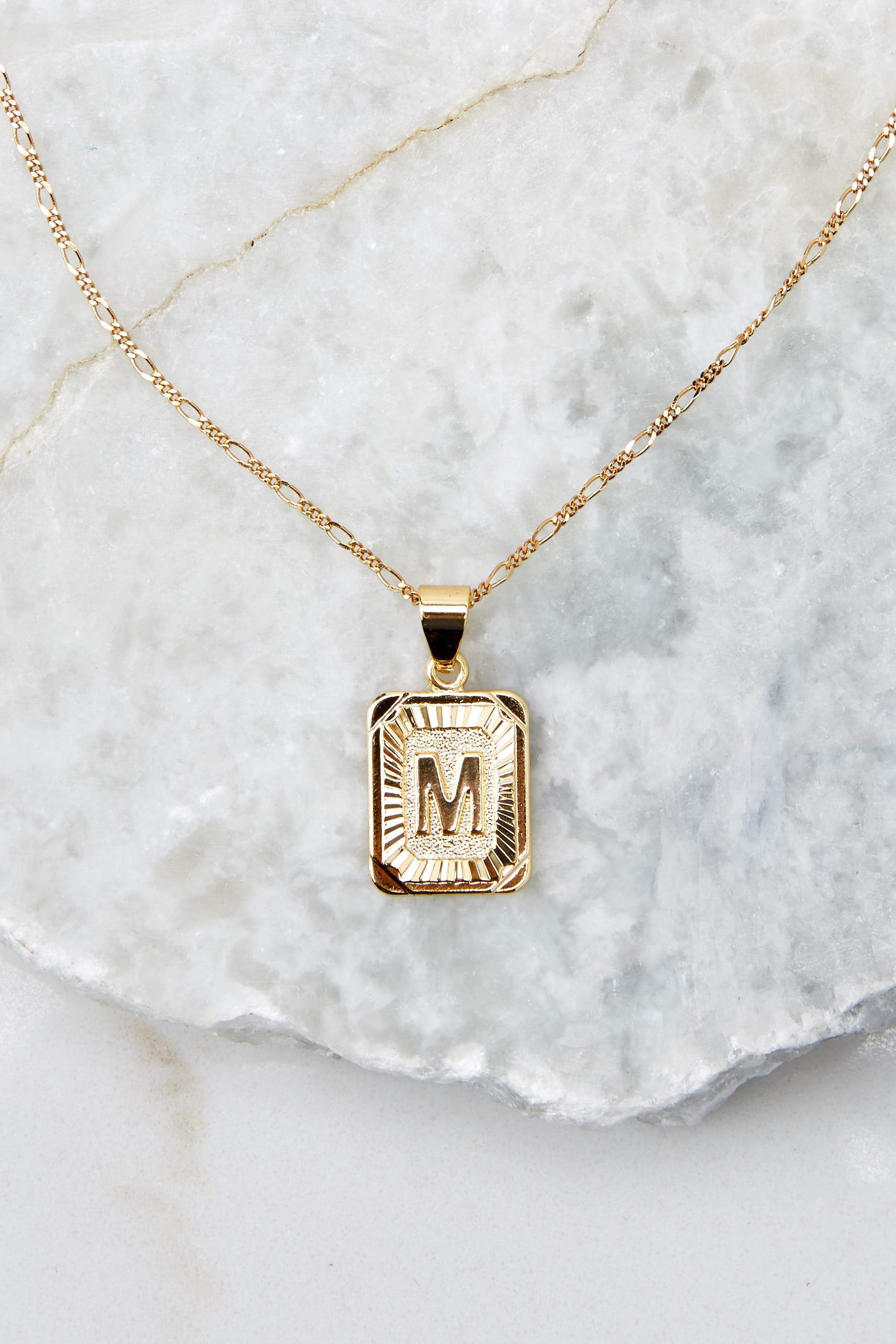 35 M Initial Card Gold Necklace at reddressboutique.com
