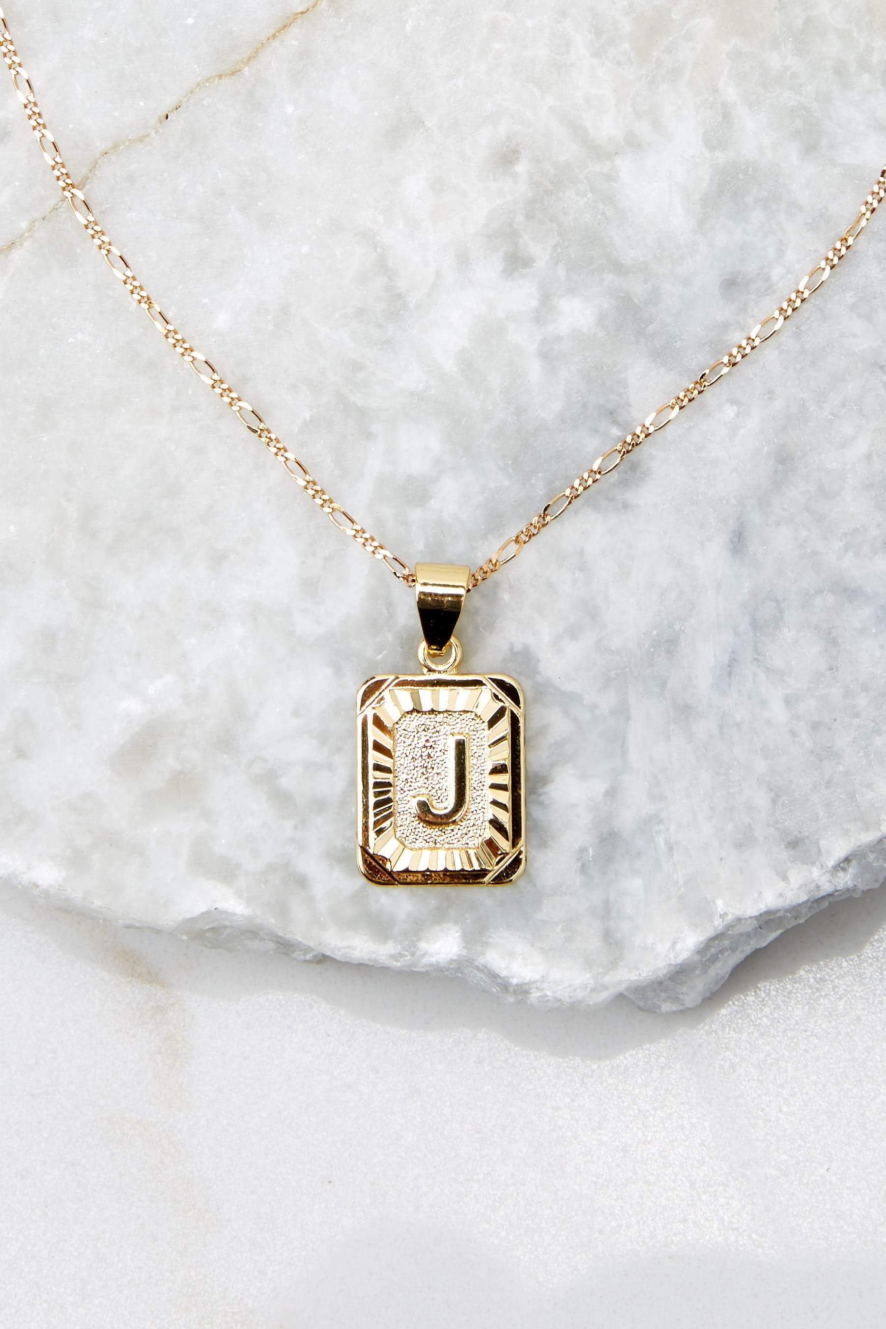 26 J Initial Card Gold Necklace at reddressboutique.com