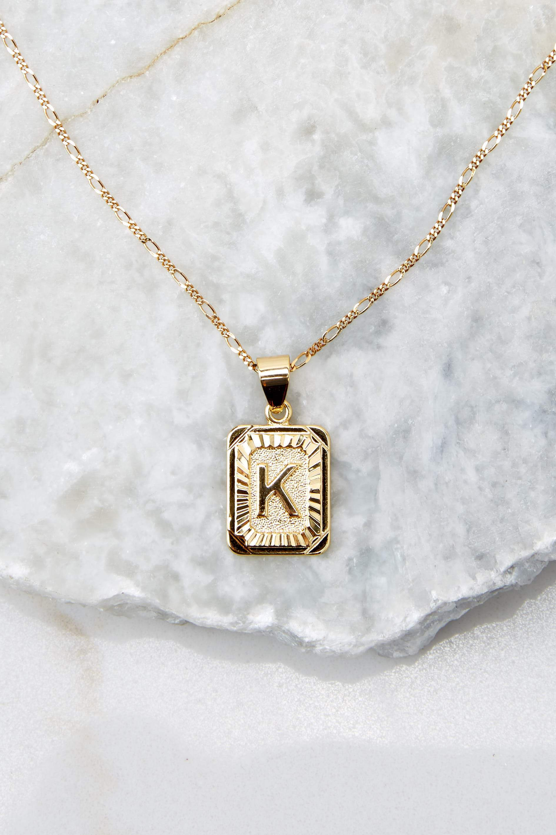 29 K Initial Card Gold Necklace at reddressboutique.com