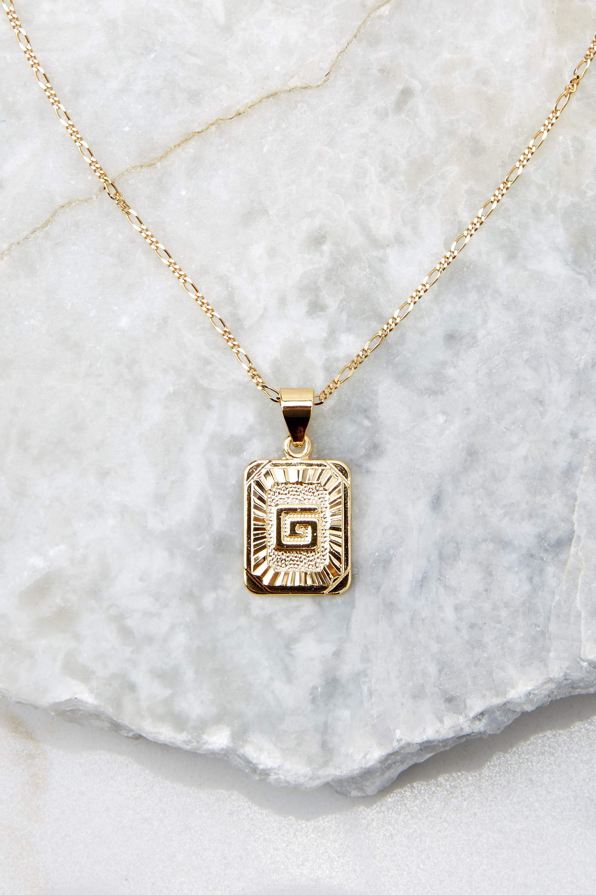 20 G Initial Card Gold Necklace at reddressboutique.com