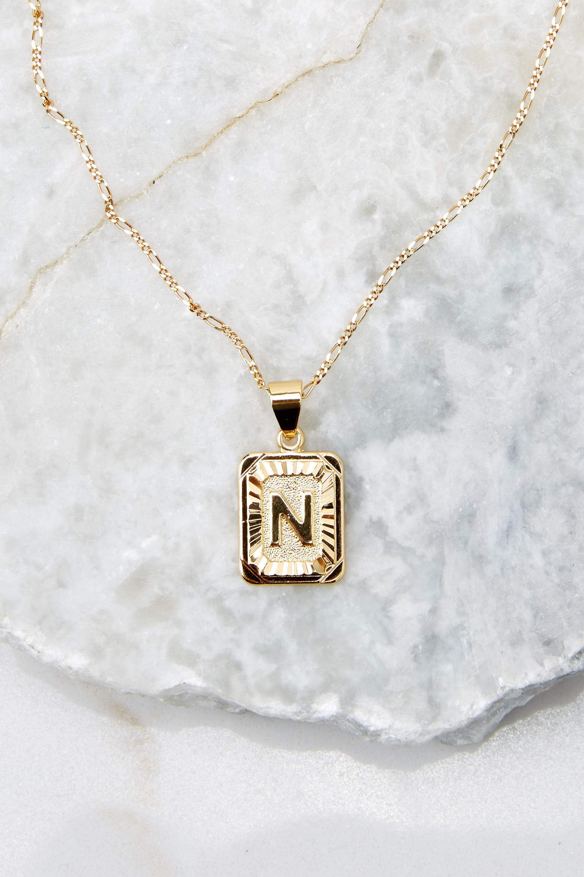 38 N Initial Card Gold Necklace at reddressboutique.com
