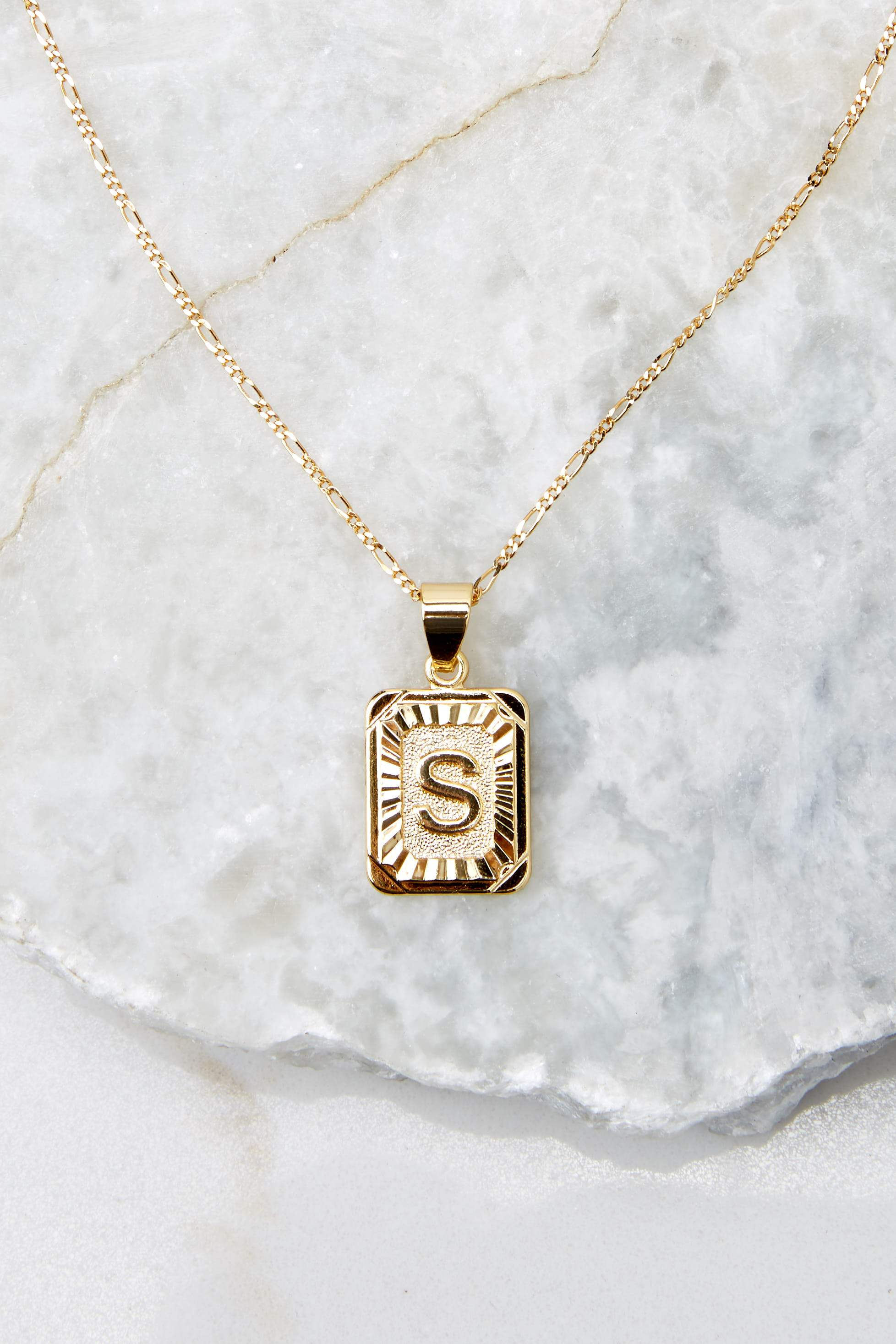 44 S Initial Card Gold Necklace at reddressboutique.com