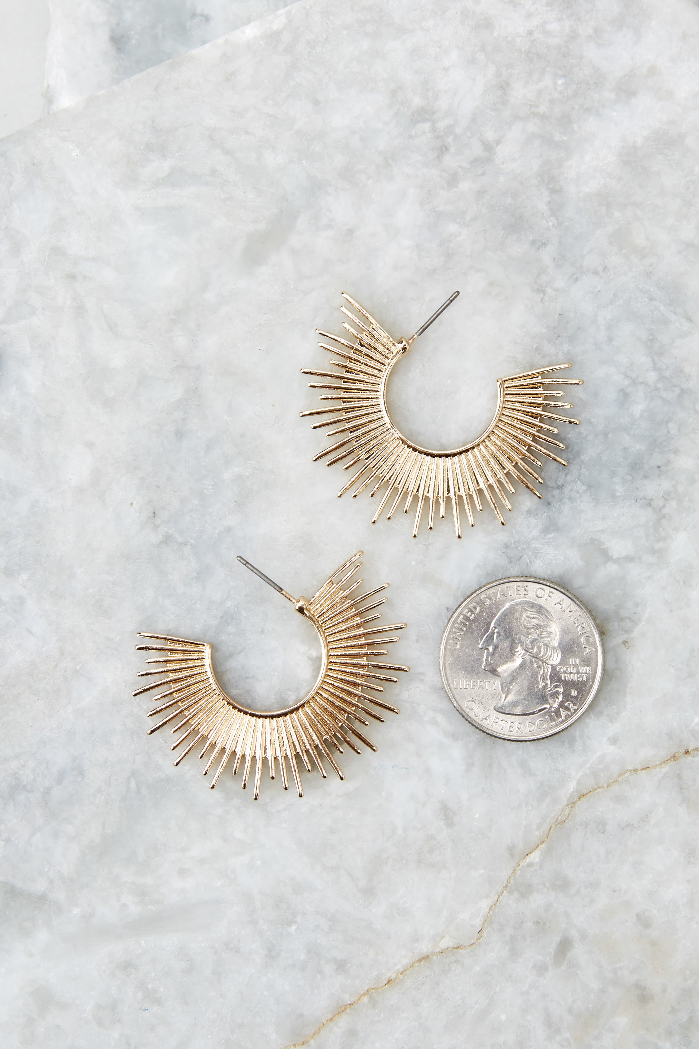 3 Blaze Gold Hoop Earrings at reddress.com
