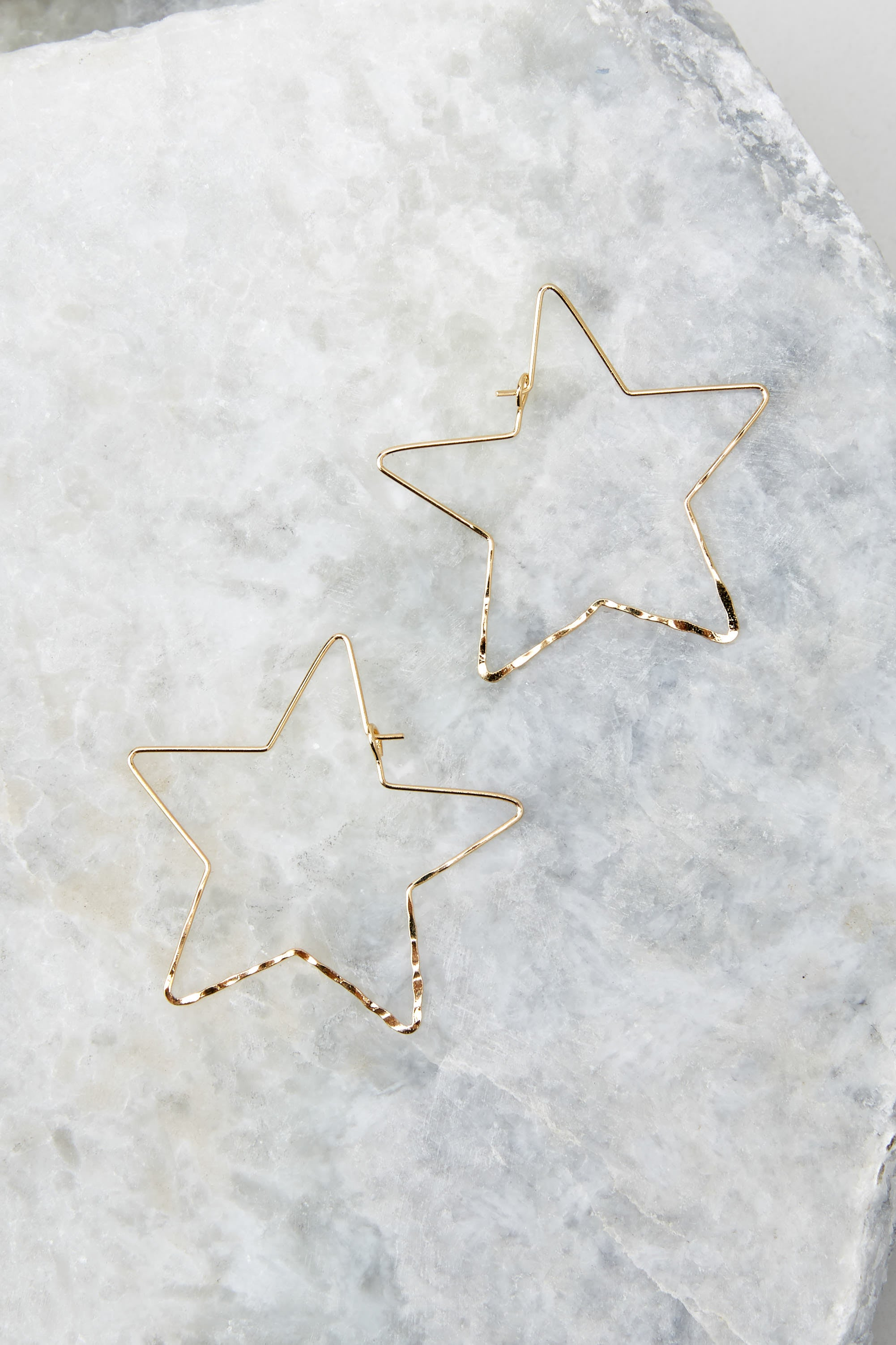 2 Starstruck Gold Hoop Earrings at reddressboutique.com