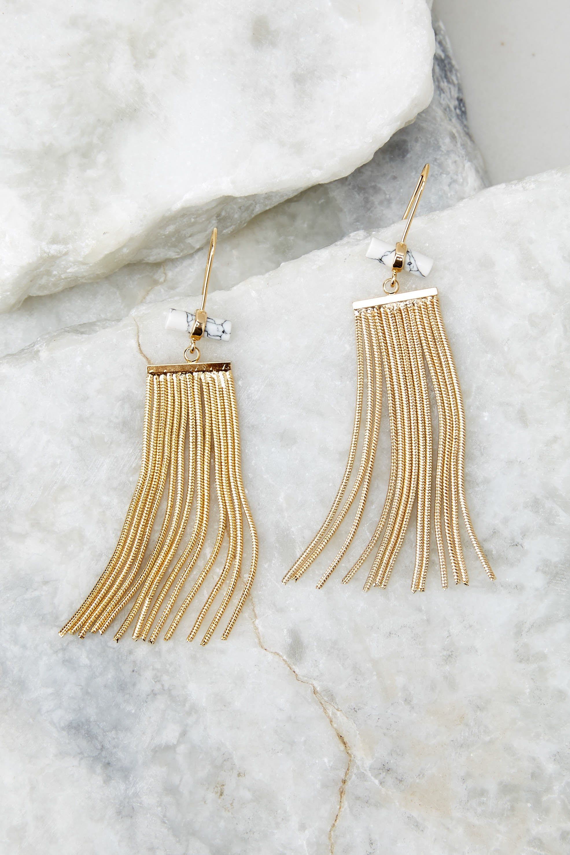 3 Celestial Marble And Gold Earrings at reddressboutique.com