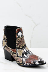 2 Hello It's Me Brown Multi Snake Print Ankle Boots at reddressboutique.com