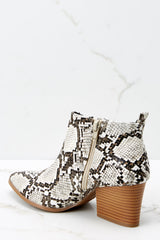 3 From The Valley Snakeskin Ankle Booties at reddressboutique.com
