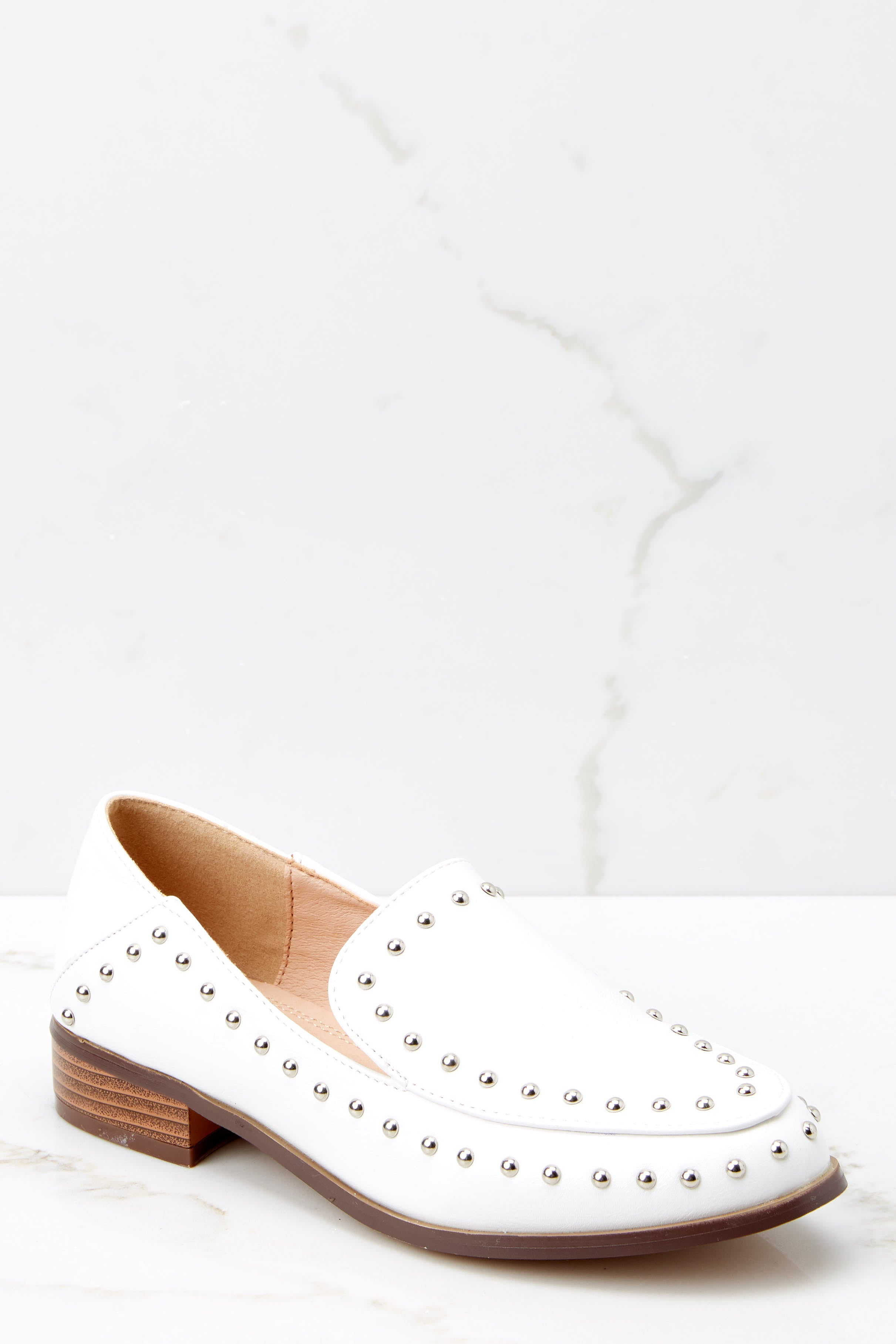 1 Steps Ahead White Studded Loafers at reddressboutique.com