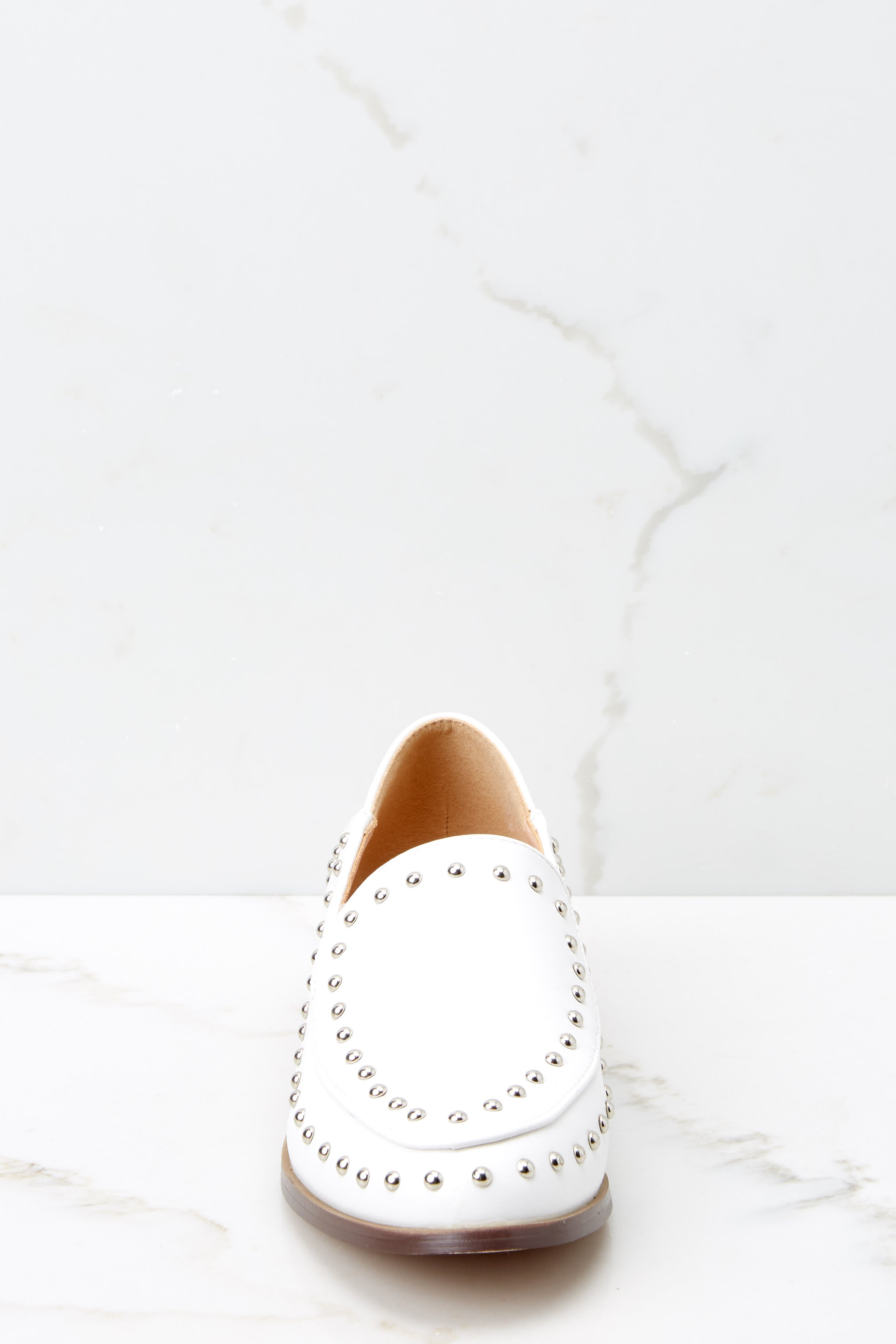 2 Steps Ahead White Studded Loafers at reddressboutique.com