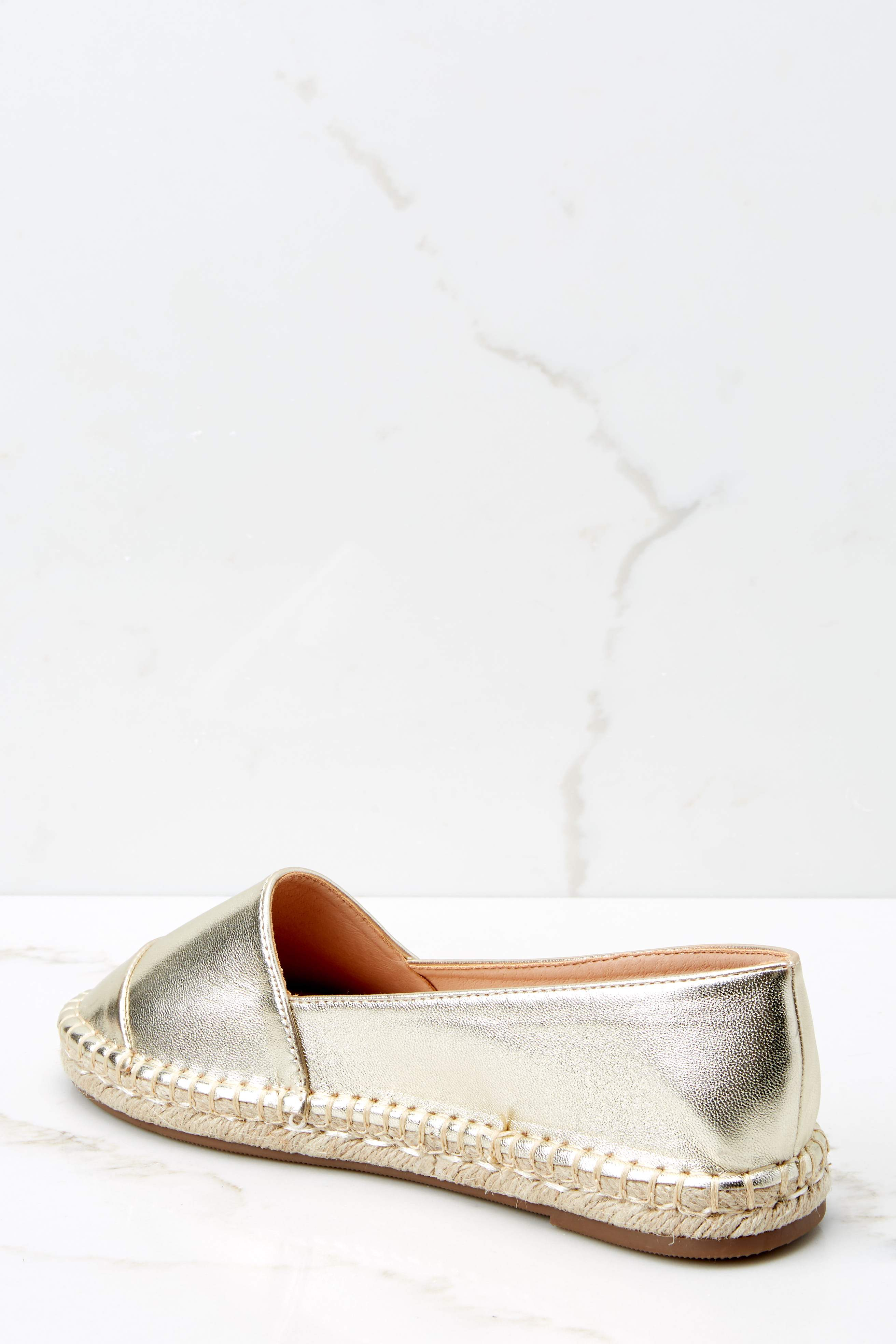 4 Following Fun Metallic Gold Slip On Espadrille Flats at reddress.com