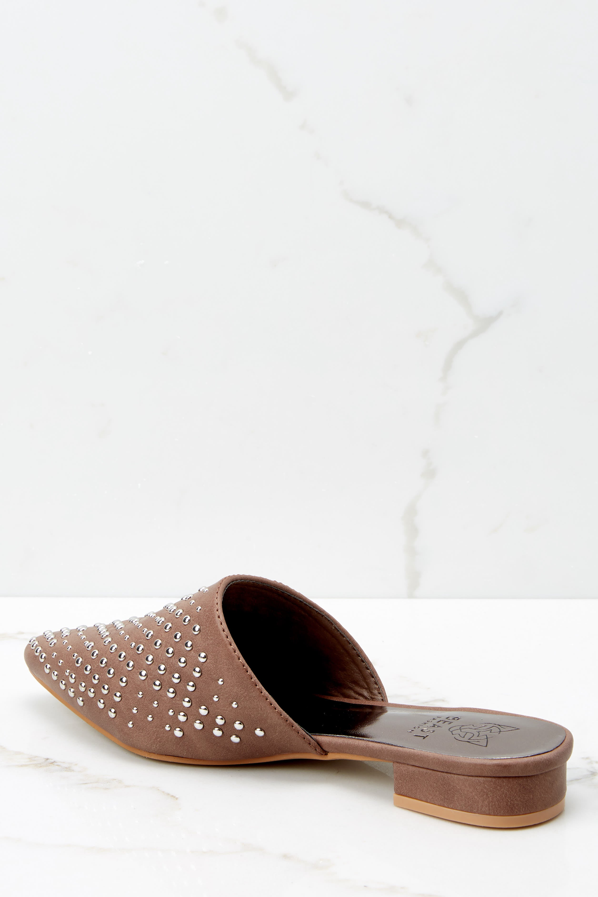 3 Casual Escapade Brown Studded Mules at reddressboutique.com