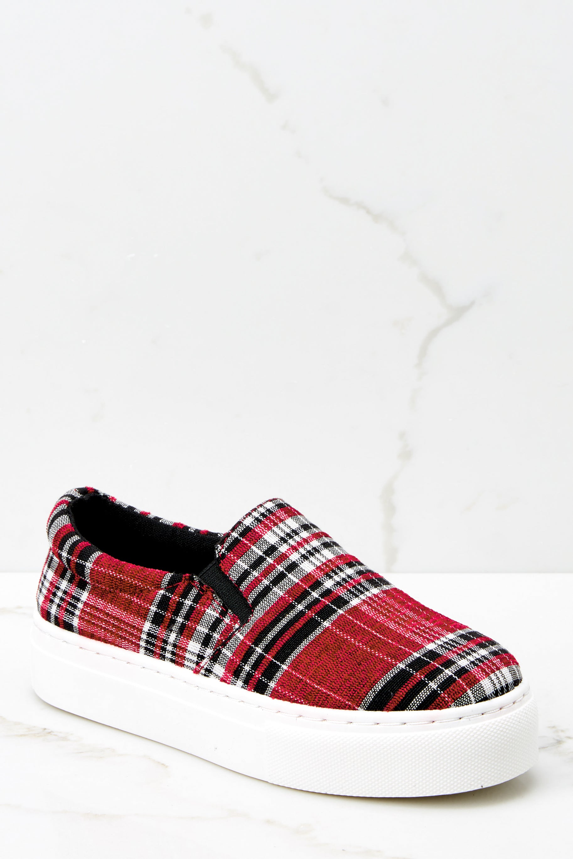 1 Plaid My Way Red Multi Plaid Slip On Sneakers at reddressboutique.com