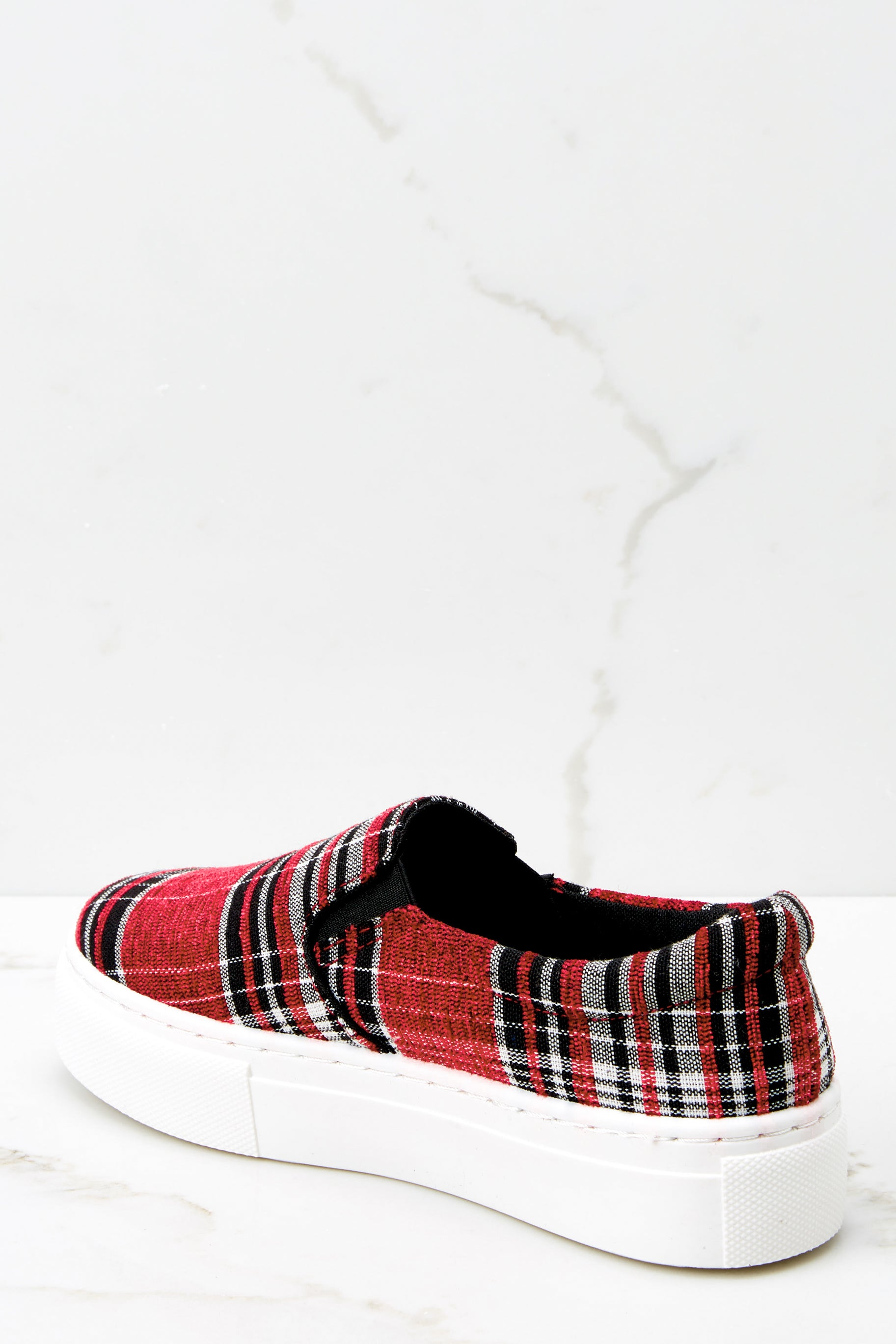3 Plaid My Way Red Multi Plaid Slip On Sneakers at reddressboutique.com