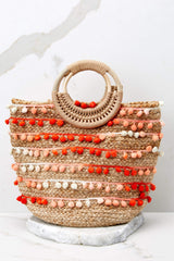 2 Infinite Options Pink Multi Pom Pom Handbag at reddress.com