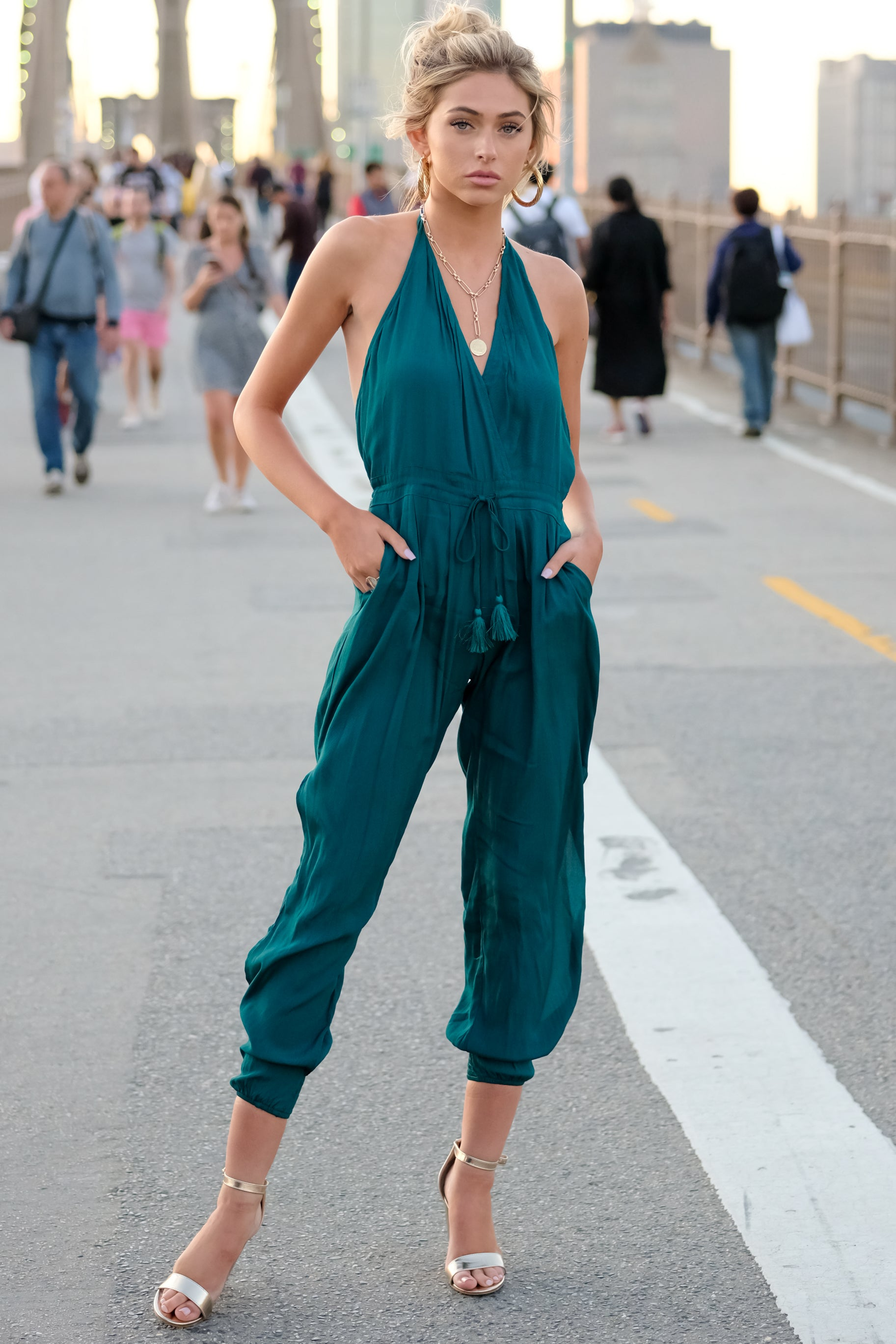 10 Close Enough Dark Teal Jumpsuit at reddressboutique.com
