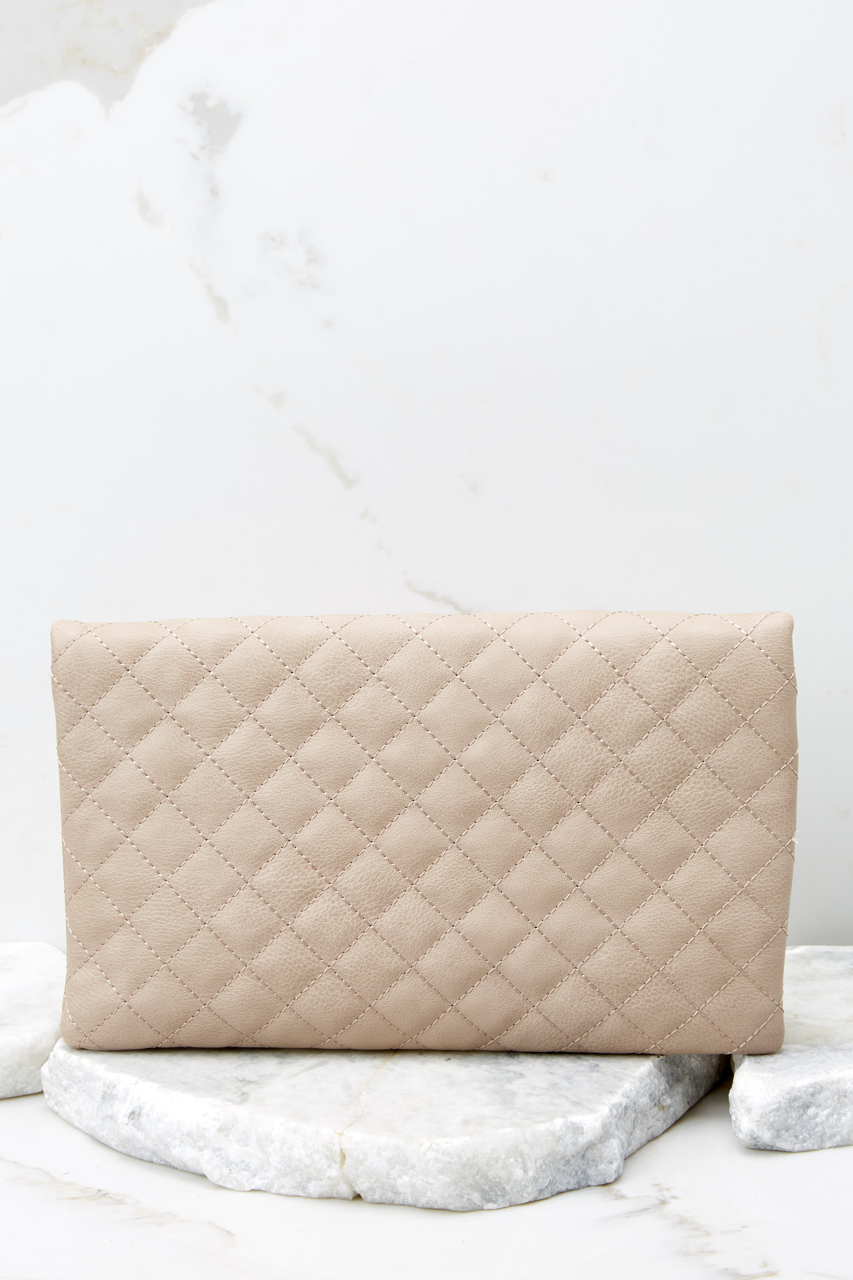 3 Living Fashionably Taupe Clutch at reddressboutique.com