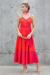 9 Forever Young Two Tone Red Midi Dress at reddressboutique.com