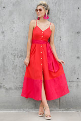 8 Forever Young Two Tone Red Midi Dress at reddress.com